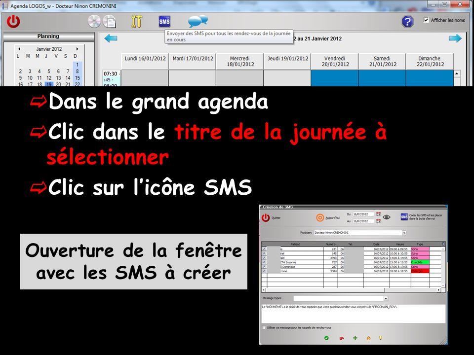 Dans le grand agenda Clic dans le titre de la journée à sélectionner Clic sur licône SMS Ouverture de la fenêtre avec les SMS à créer