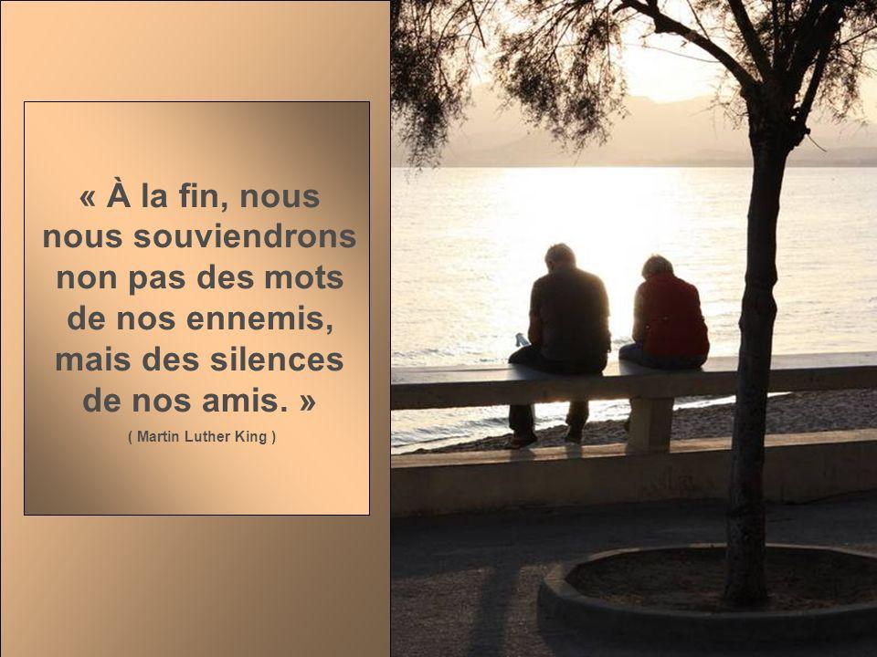« À la fin, nous nous souviendrons non pas des mots de nos ennemis, mais des silences de nos amis.