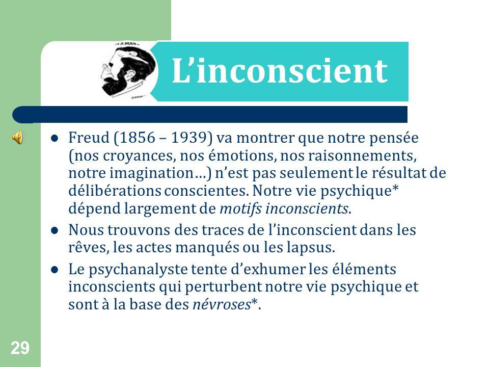 La pensée se limite-t-elle à la pensée consciente ? À lépoque de Descartes, une expression telle que « pensée inconsciente » aurait été perçue comme u