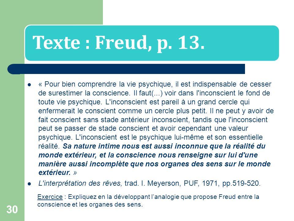 29 Linconscient Freud (1856 – 1939) va montrer que notre pensée (nos croyances, nos émotions, nos raisonnements, notre imagination…) nest pas seulemen