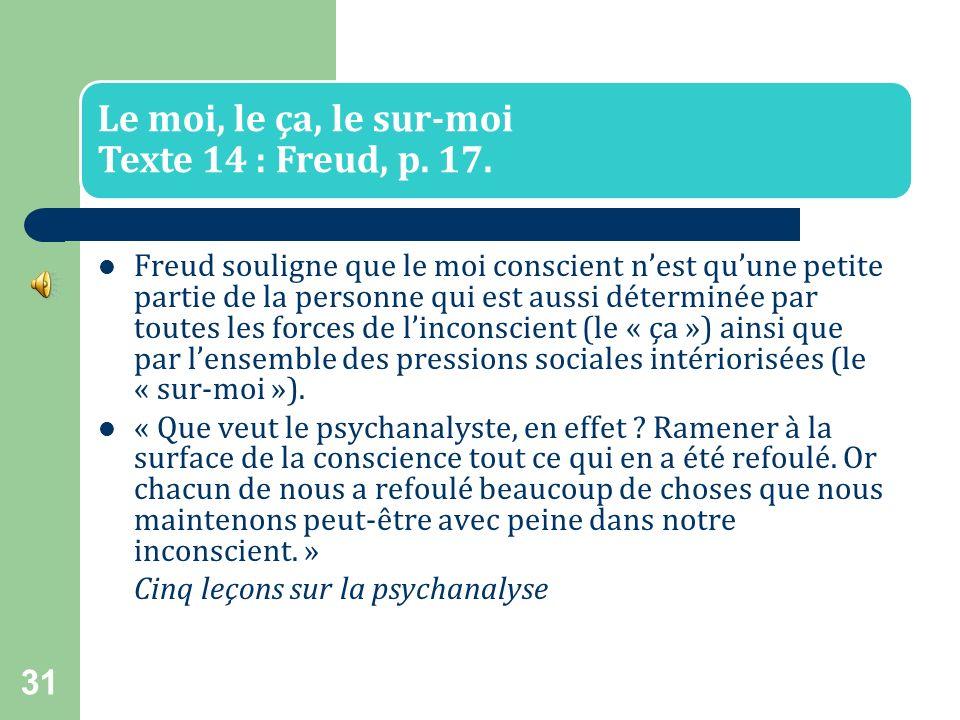 30 Texte : Freud, p. 13. « Pour bien comprendre la vie psychique, il est indispensable de cesser de surestimer la conscience. Il faut(...) voir dans l