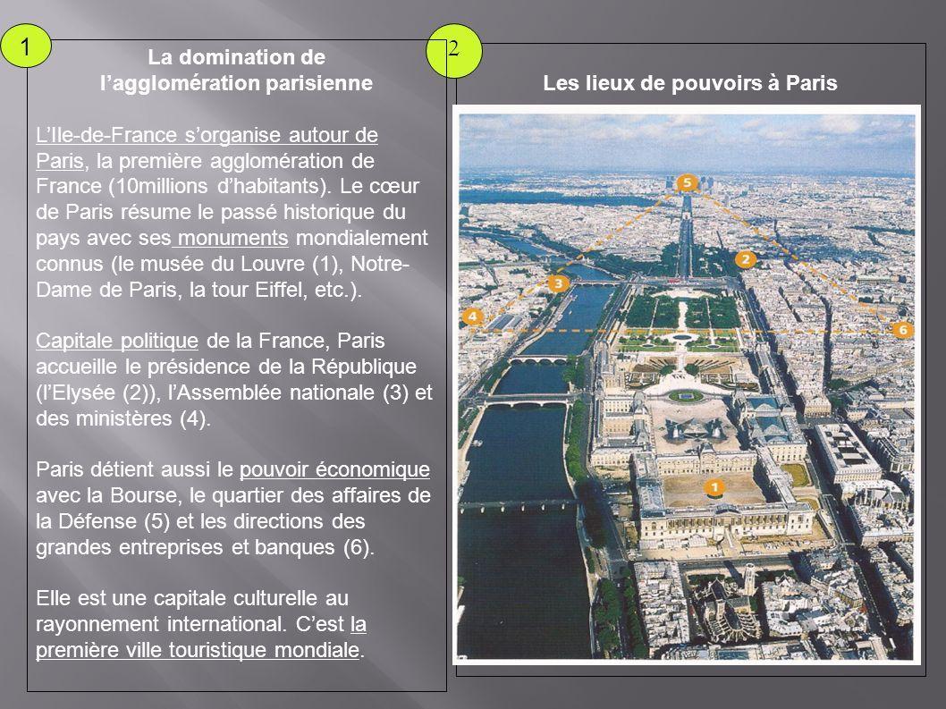 Les lieux de pouvoirs à Paris 2 La domination de lagglomération parisienne LIle-de-France sorganise autour de Paris, la première agglomération de France (10millions dhabitants).