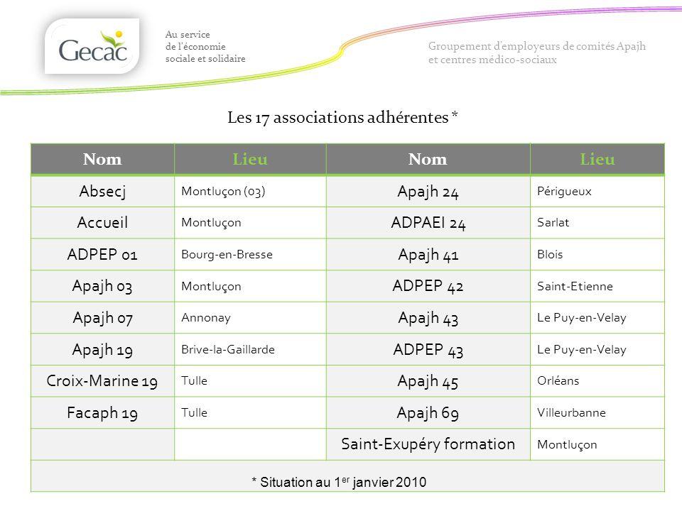 Les 17 associations adhérentes * Au service de léconomie sociale et solidaire Groupement demployeurs de comités Apajh et centres médico-sociaux NomLie