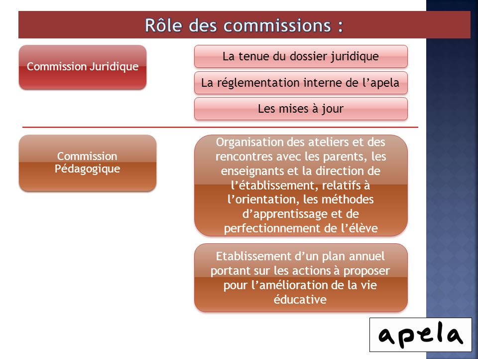 Commission Juridique La tenue du dossier juridique La réglementation interne de lapela Les mises à jour Commission Pédagogique Organisation des atelie
