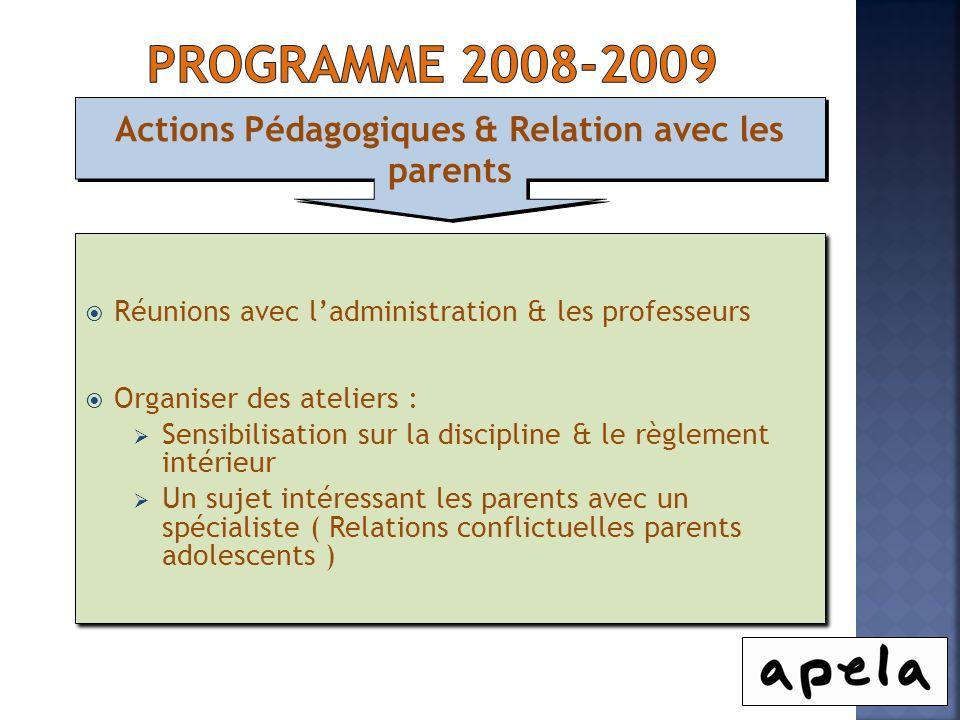 Actions Pédagogiques & Relation avec les parents Réunions avec ladministration & les professeurs Organiser des ateliers : Sensibilisation sur la disci