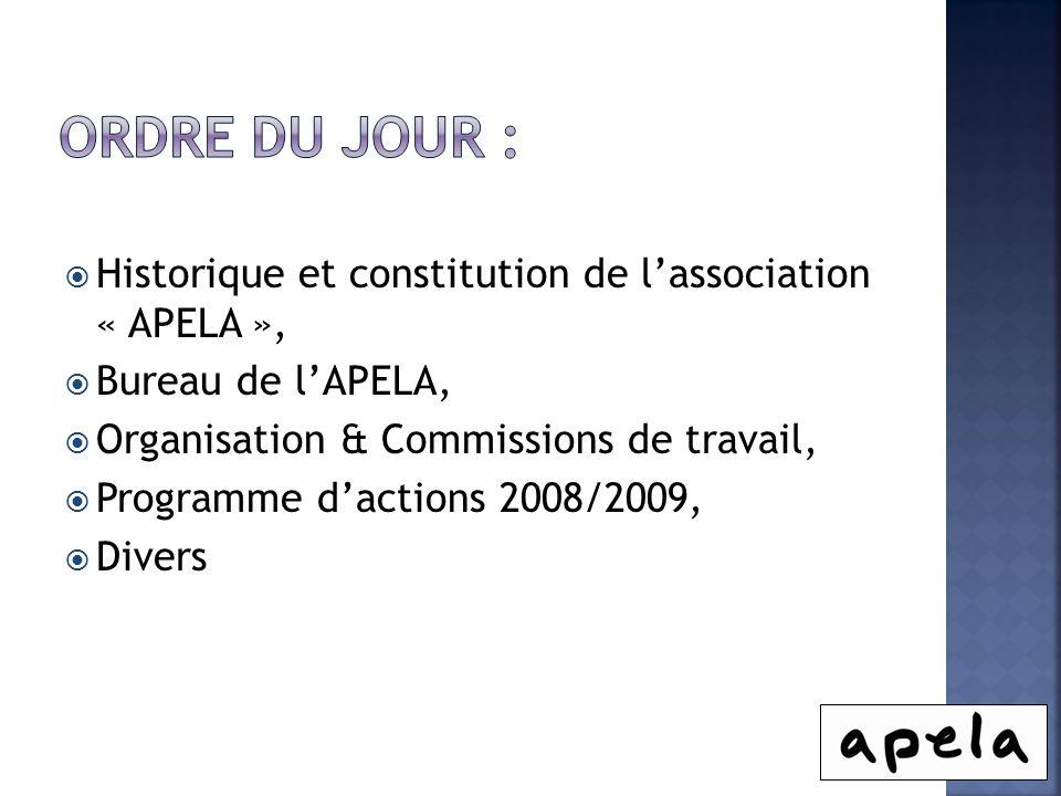 Historique et constitution de lassociation « APELA », Bureau de lAPELA, Organisation & Commissions de travail, Programme dactions 2008/2009, Divers