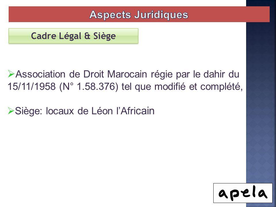 Association de Droit Marocain régie par le dahir du 15/11/1958 (N° 1.58.376) tel que modifié et complété, Siège: locaux de Léon lAfri cain Cadre Légal