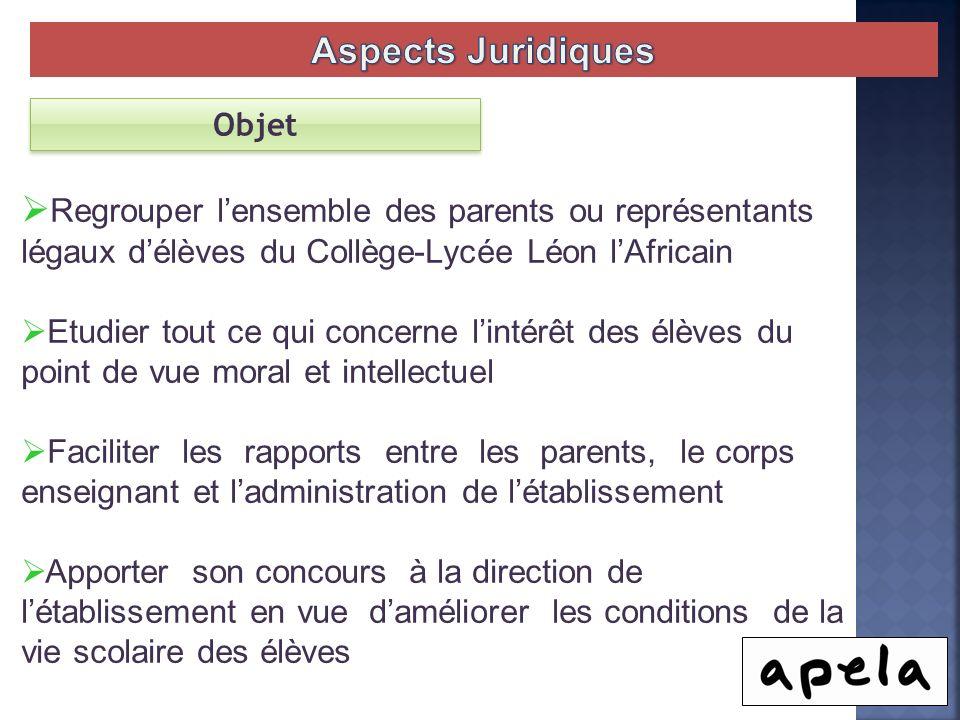 Objet Regrouper lensemble des parents ou représentants légaux délèves du Collège-Lycée Léon lAfricain Etudier tout ce qui concerne lintérêt des élèves