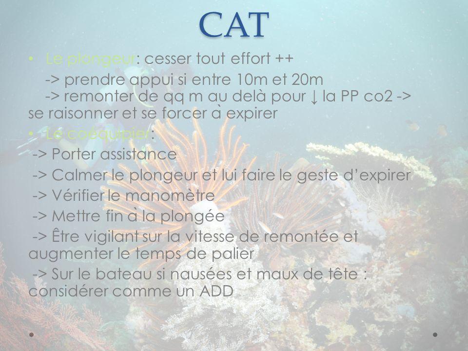 CAT Le plongeur: cesser tout effort ++ -> prendre appui si entre 10m et 20m -> remonter de qq m au delà pour la PP co2 -> se raisonner et se forcer a