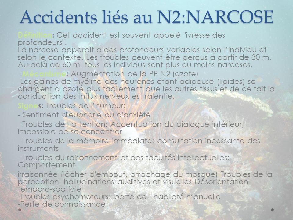Accidents liés au N2:NARCOSE Définition: Cet accident est souvent appelé