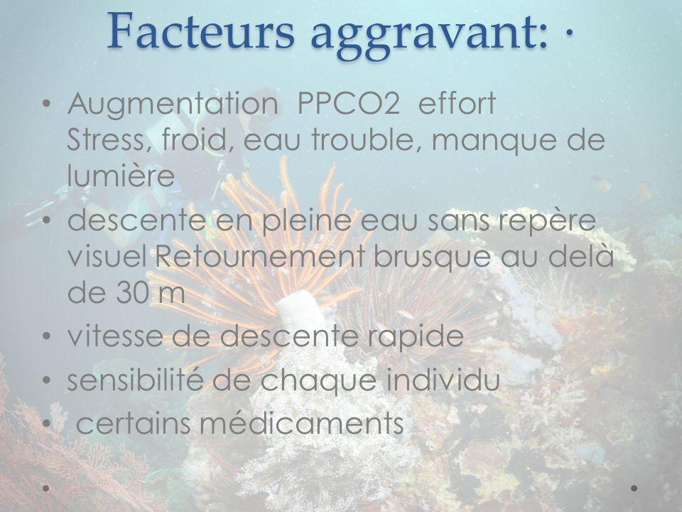 Facteurs aggravant: · Augmentation PPCO2 effort Stress, froid, eau trouble, manque de lumière descente en pleine eau sans repère visuel Retournement b