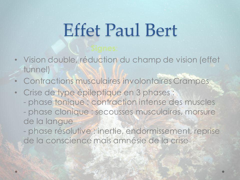 Effet Paul Bert Signes: Vision double, réduction du champ de vision (effet tunnel) Contractions musculaires involontaires Crampes Crise de type épilep