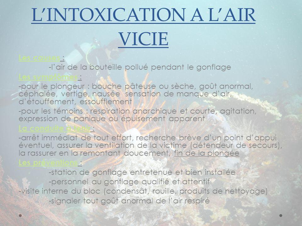 LINTOXICATION A LAIR VICIE Les causes : -lair de la bouteille pollué pendant le gonflage Les symptômes : -pour le plongeur : bouche pâteuse ou sèche,