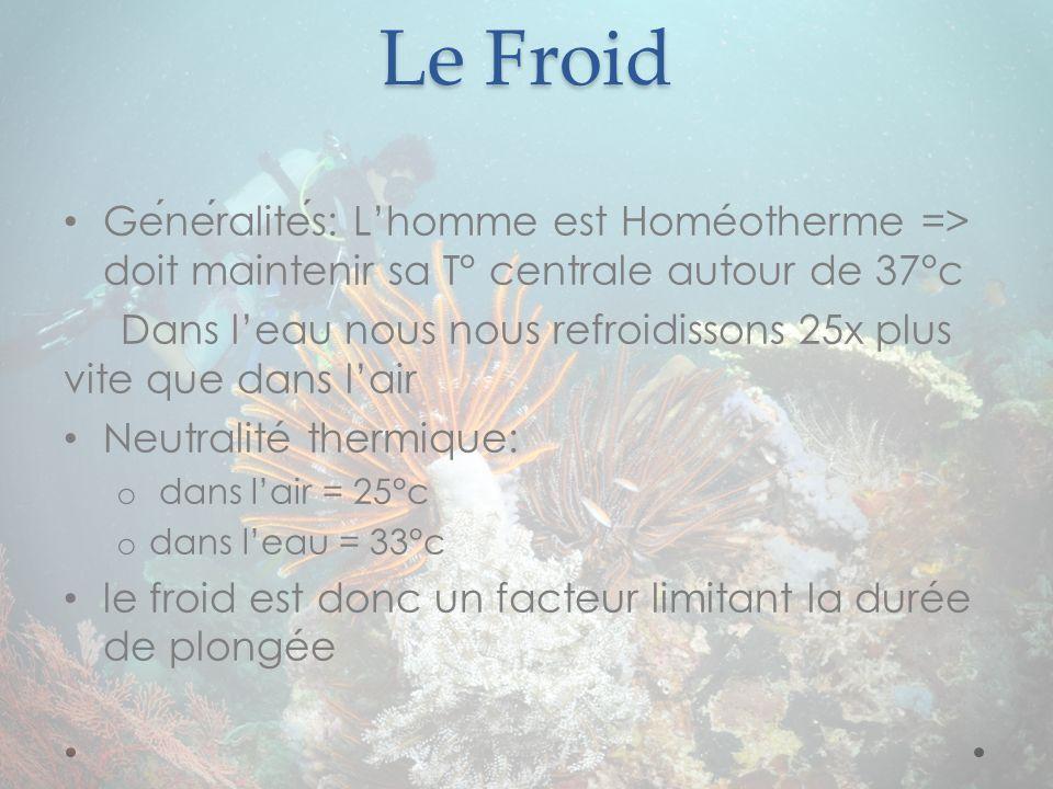 Le Froid Generalites: Lhomme est Homéotherme => doit maintenir sa T° centrale autour de 37°c Dans leau nous nous refroidissons 25x plus vite que dans