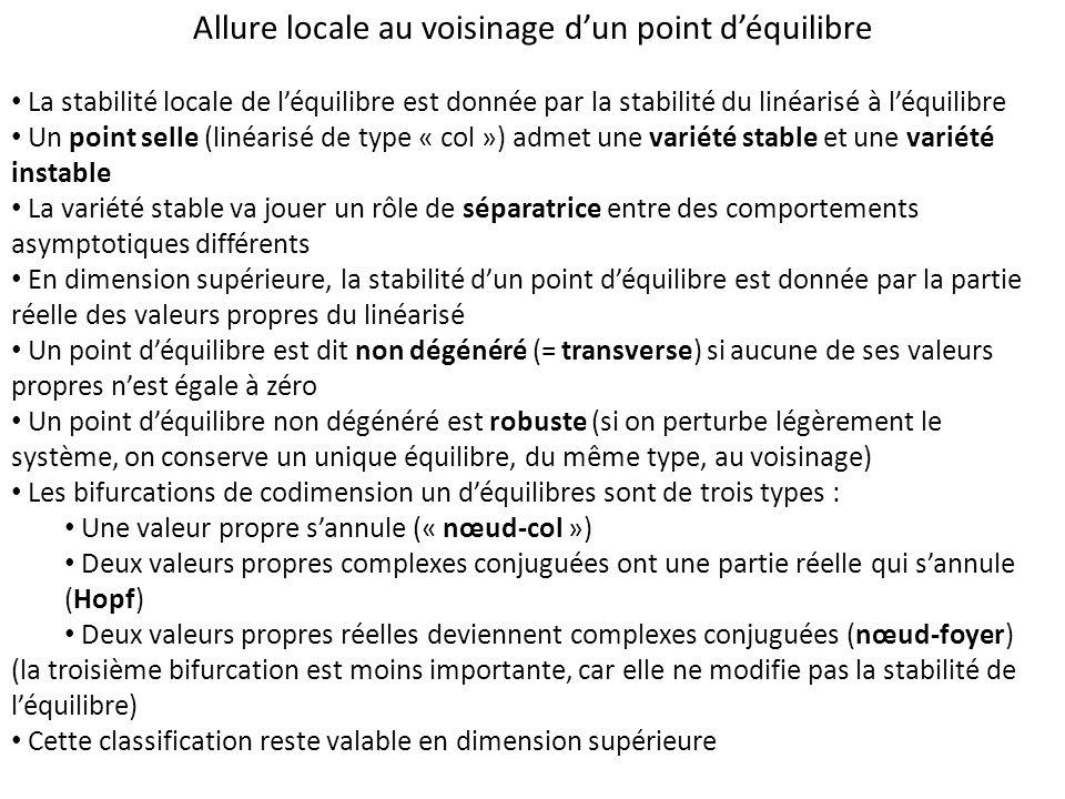 Allure locale au voisinage dun point déquilibre La stabilité locale de léquilibre est donnée par la stabilité du linéarisé à léquilibre Un point selle (linéarisé de type « col ») admet une variété stable et une variété instable La variété stable va jouer un rôle de séparatrice entre des comportements asymptotiques différents En dimension supérieure, la stabilité dun point déquilibre est donnée par la partie réelle des valeurs propres du linéarisé Un point déquilibre est dit non dégénéré (= transverse) si aucune de ses valeurs propres nest égale à zéro Un point déquilibre non dégénéré est robuste (si on perturbe légèrement le système, on conserve un unique équilibre, du même type, au voisinage) Les bifurcations de codimension un déquilibres sont de trois types : Une valeur propre sannule (« nœud-col ») Deux valeurs propres complexes conjuguées ont une partie réelle qui sannule (Hopf) Deux valeurs propres réelles deviennent complexes conjuguées (nœud-foyer) (la troisième bifurcation est moins importante, car elle ne modifie pas la stabilité de léquilibre) Cette classification reste valable en dimension supérieure