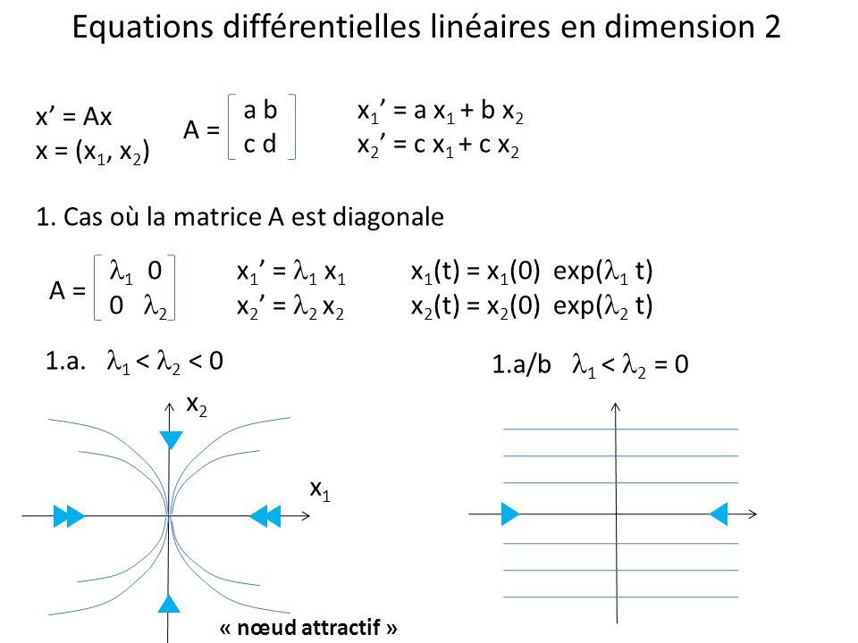 Equations différentielles linéaires en dimension 2 x = Ax x = (x 1, x 2 ) a b c d A = x 1 = a x 1 + b x 2 x 2 = c x 1 + c x 2 1. Cas où la matrice A e