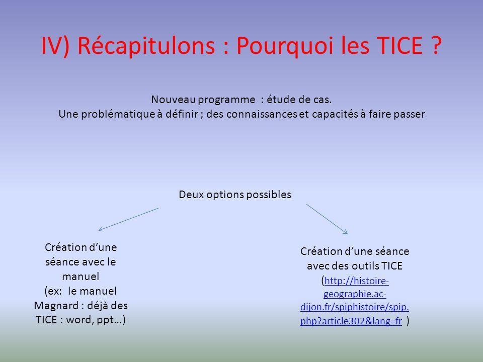 IV) Récapitulons : Pourquoi les TICE .Nouveau programme : étude de cas.