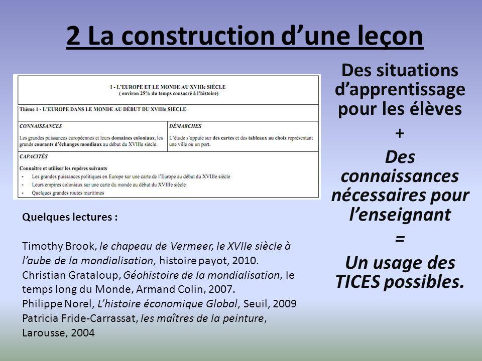 2 La construction dune leçon Des situations dapprentissage pour les élèves + Des connaissances nécessaires pour lenseignant = Un usage des TICES possibles.