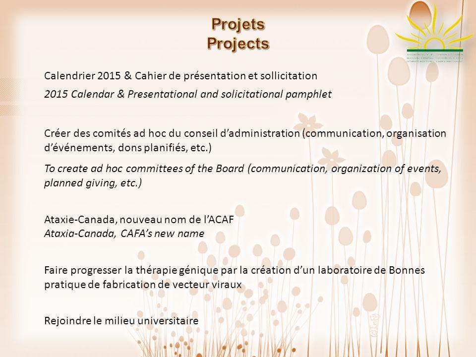 Calendrier 2015 & Cahier de présentation et sollicitation 2015 Calendar & Presentational and solicitational pamphlet Créer des comités ad hoc du conse