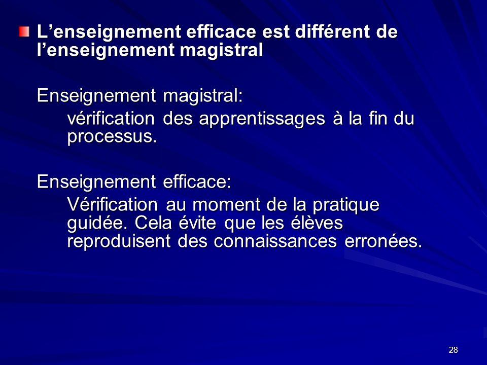 28 Lenseignement efficace est différent de lenseignement magistral Enseignement magistral: vérification des apprentissages à la fin du processus.
