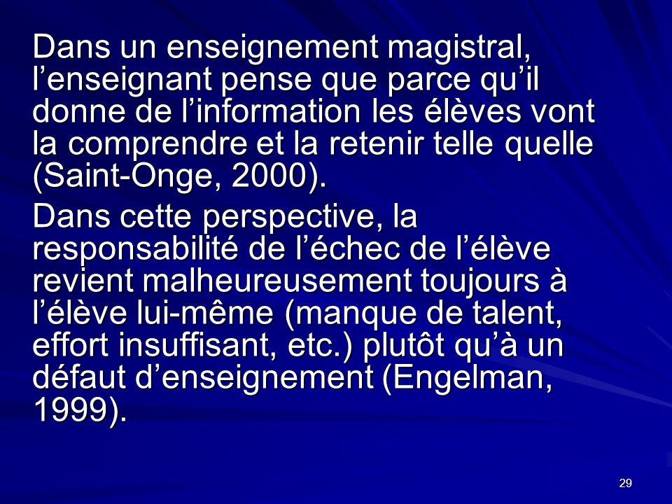 29 Dans un enseignement magistral, lenseignant pense que parce quil donne de linformation les élèves vont la comprendre et la retenir telle quelle (Saint-Onge, 2000).