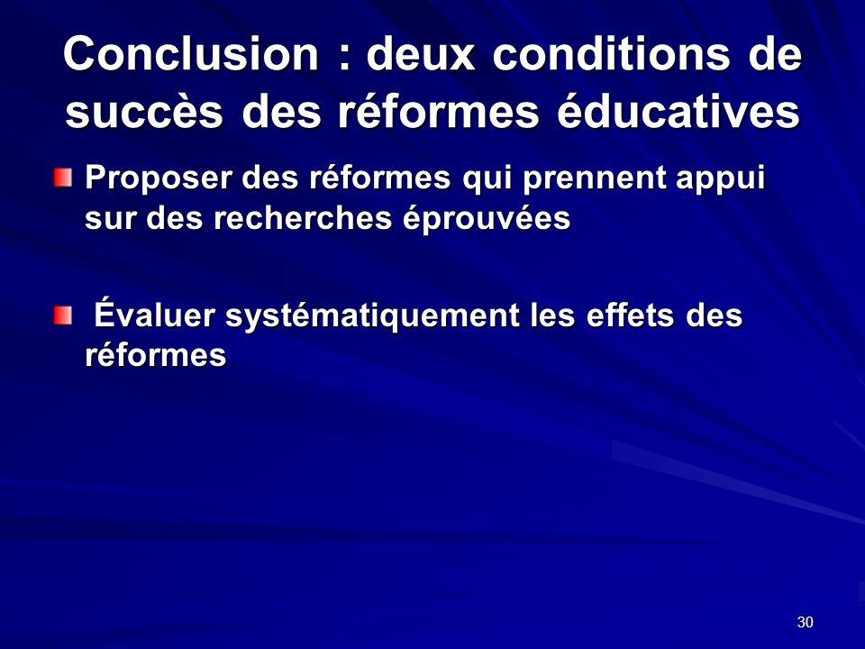 30 Conclusion : deux conditions de succès des réformes éducatives Proposer des réformes qui prennent appui sur des recherches éprouvées Évaluer systématiquement les effets des réformes Évaluer systématiquement les effets des réformes