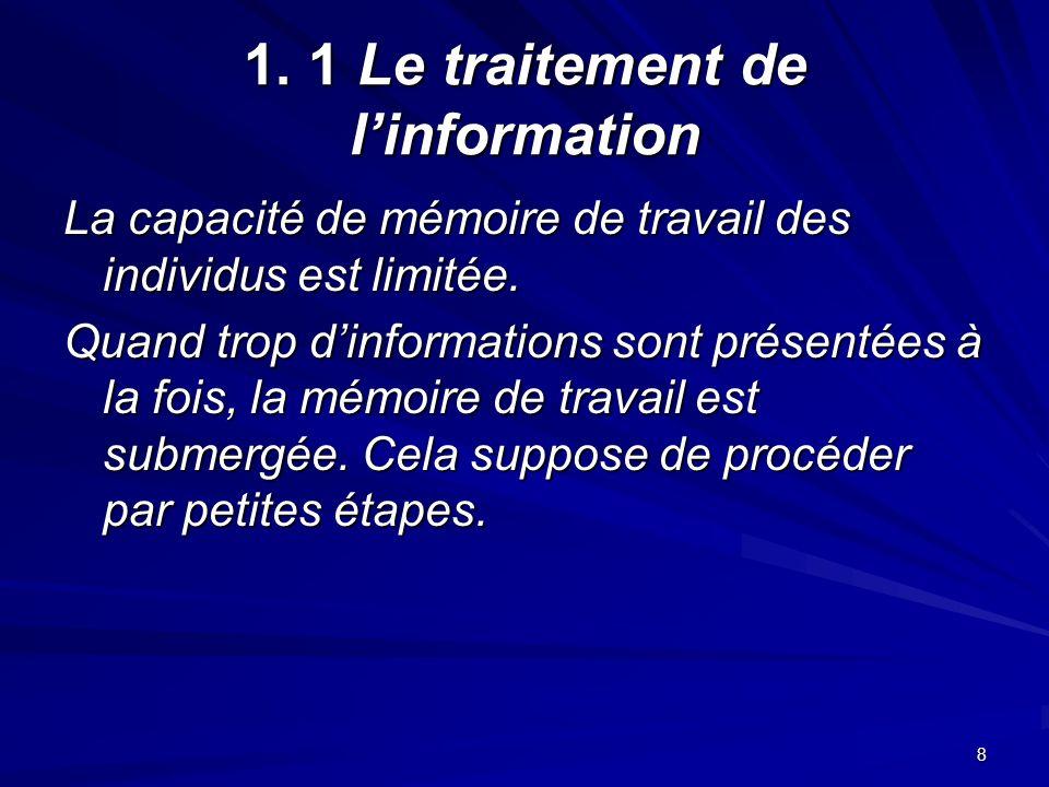 8 1. 1 Le traitement de linformation La capacité de mémoire de travail des individus est limitée.