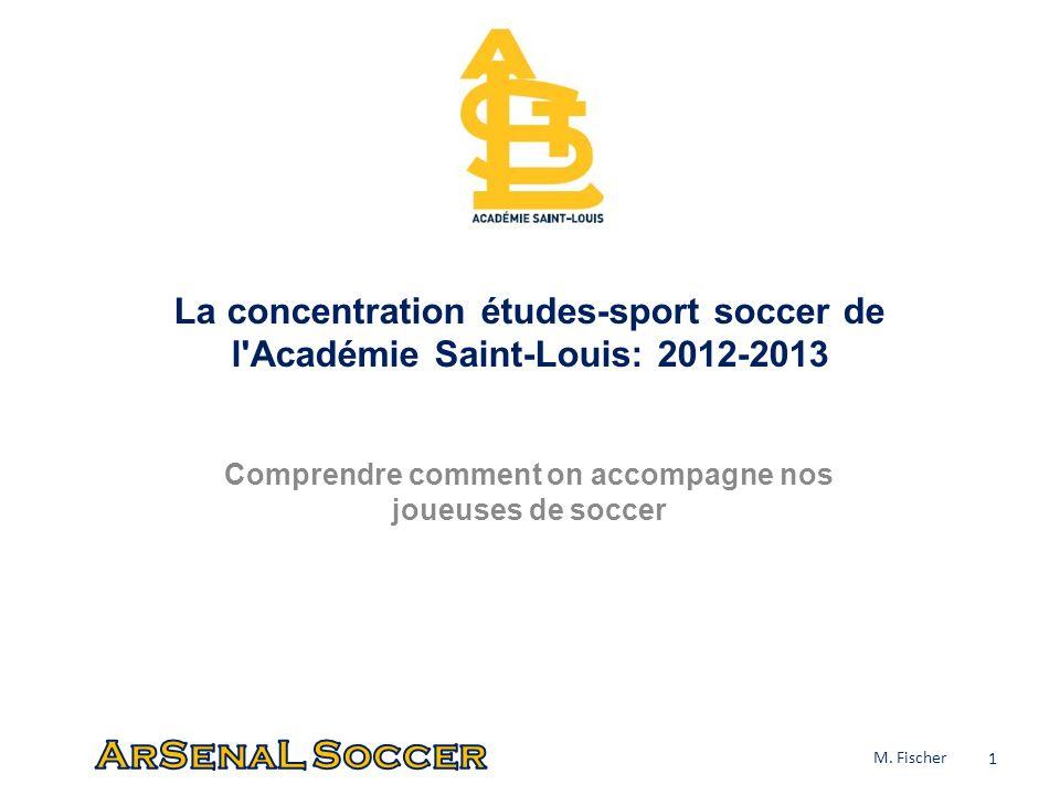 La concentration études-sport soccer de l'Académie Saint-Louis: 2012-2013 Comprendre comment on accompagne nos joueuses de soccer 1 M. Fischer