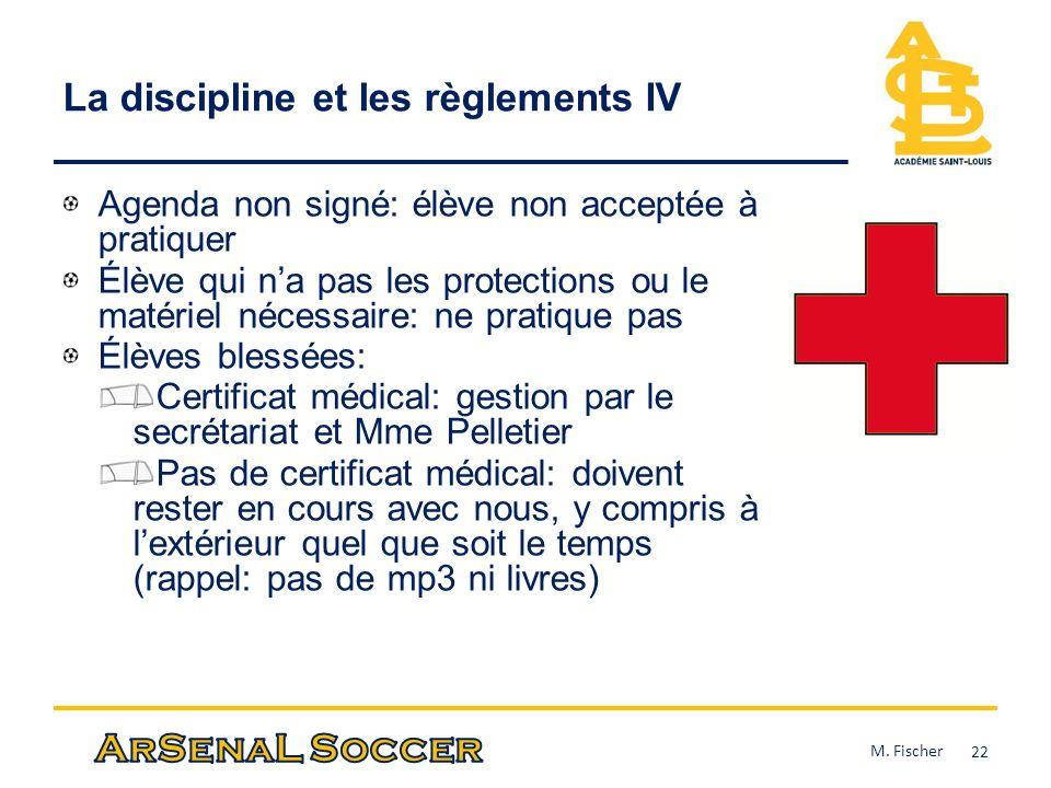 La discipline et les règlements IV Agenda non signé: élève non acceptée à pratiquer Élève qui na pas les protections ou le matériel nécessaire: ne pra