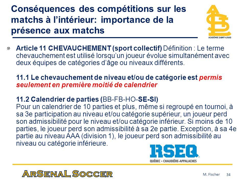 Conséquences des compétitions sur les matchs à lintérieur: importance de la présence aux matchs Article 11 CHEVAUCHEMENT (sport collectif) Définition