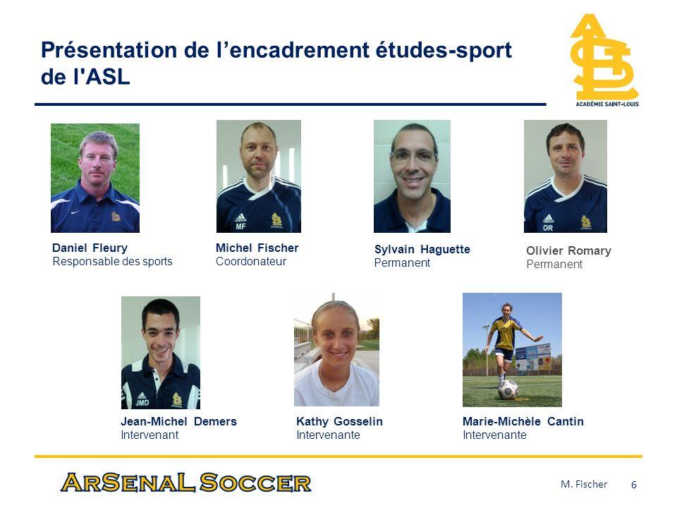 Présentation de lencadrement études-sport de l'ASL 6 Michel Fischer Coordonateur Olivier Romary Permanent Sylvain Haguette Permanent Jean-Michel Demer