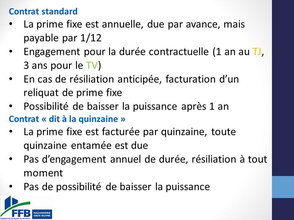 Contrat standard La prime fixe est annuelle, due par avance, mais payable par 1/12 Engagement pour la durée contractuelle (1 an au TJ, 3 ans pour le T