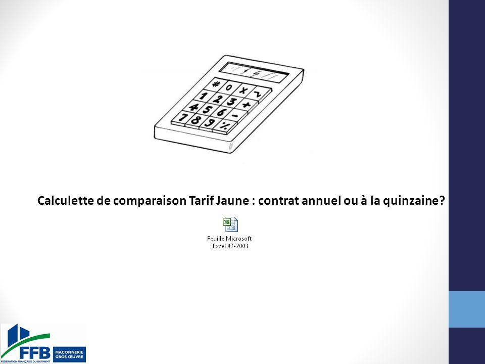Calculette de comparaison Tarif Jaune : contrat annuel ou à la quinzaine?