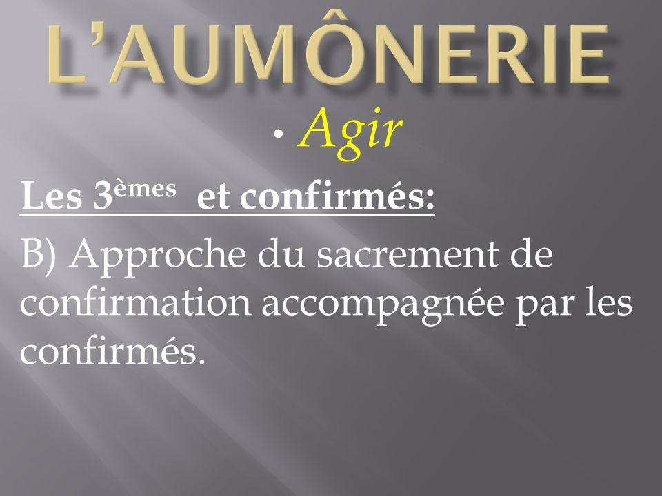 Agir Les 3 èmes et confirmés: B) Approche du sacrement de confirmation accompagnée par les confirmés.