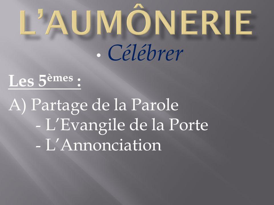 Célébrer Les 5 èmes : A) Partage de la Parole - LEvangile de la Porte - LAnnonciation