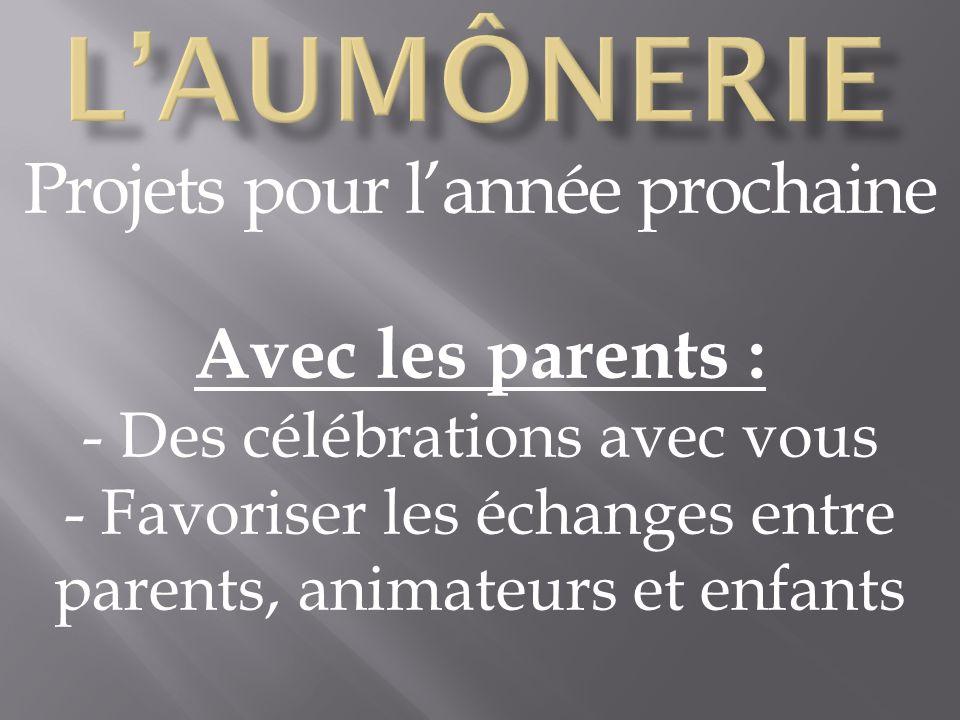 Projets pour lannée prochaine Avec les parents : - Des célébrations avec vous - Favoriser les échanges entre parents, animateurs et enfants