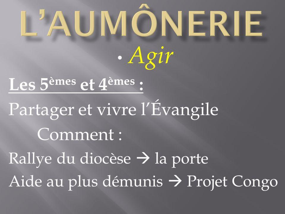 Agir Les 5 èmes et 4 èmes : Partager et vivre lÉvangile Comment : Rallye du diocèse la porte Aide au plus démunis Projet Congo