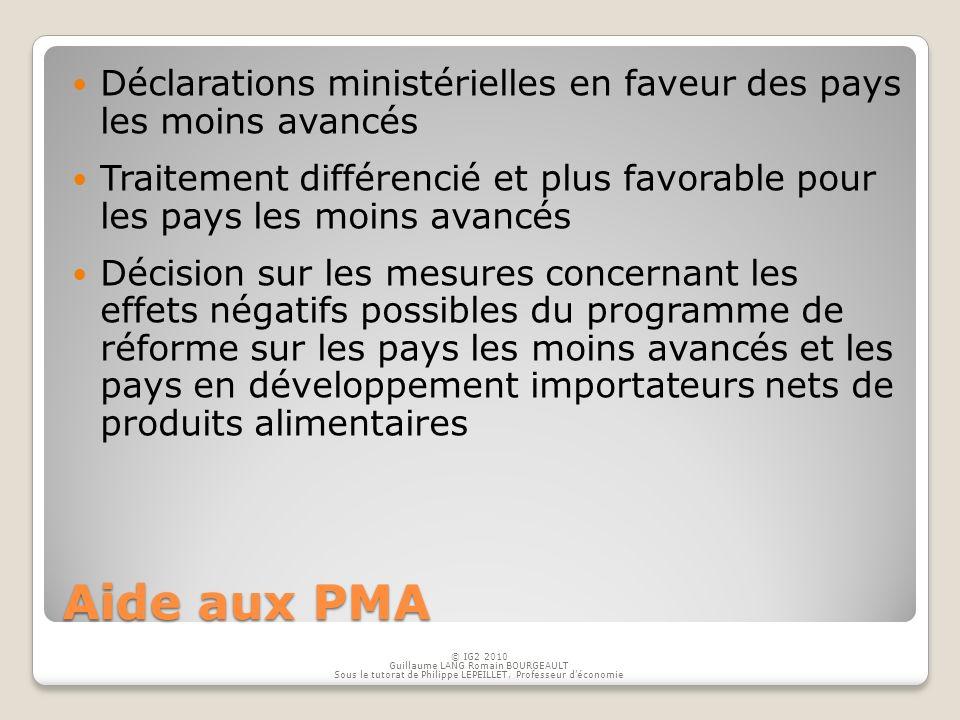 Aide aux PMA Déclarations ministérielles en faveur des pays les moins avancés Traitement différencié et plus favorable pour les pays les moins avancés