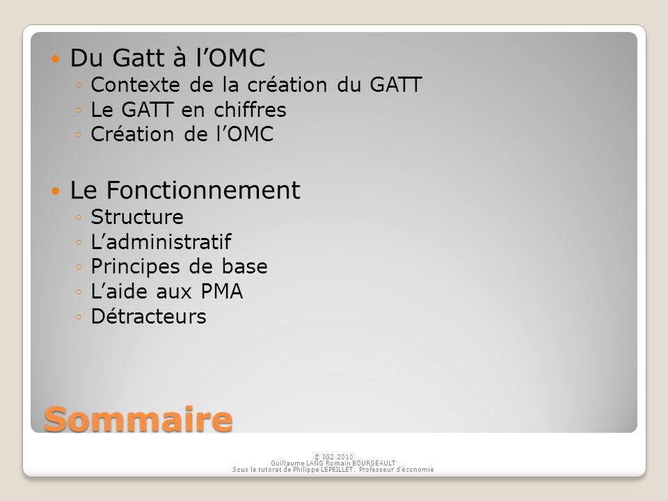 Sommaire Du Gatt à lOMC Contexte de la création du GATT Le GATT en chiffres Création de lOMC Le Fonctionnement Structure Ladministratif Principes de b