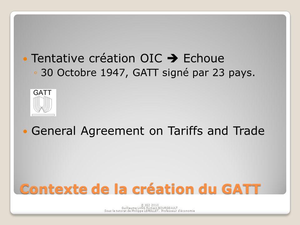 Contexte de la création du GATT Tentative création OIC Echoue 30 Octobre 1947, GATT signé par 23 pays. General Agreement on Tariffs and Trade © IG2 20
