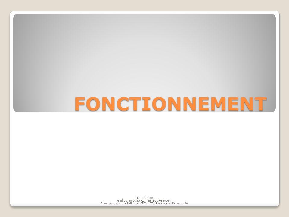 FONCTIONNEMENT © IG2 2010 Guillaume LANG Romain BOURGEAULT Sous le tutorat de Philippe LEPEILLET, Professeur déconomie