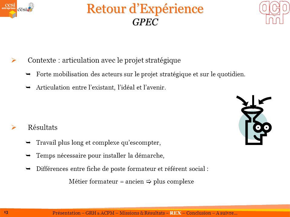 Retour dExpérience GPEC Contexte : articulation avec le projet stratégique Forte mobilisation des acteurs sur le projet stratégique et sur le quotidie