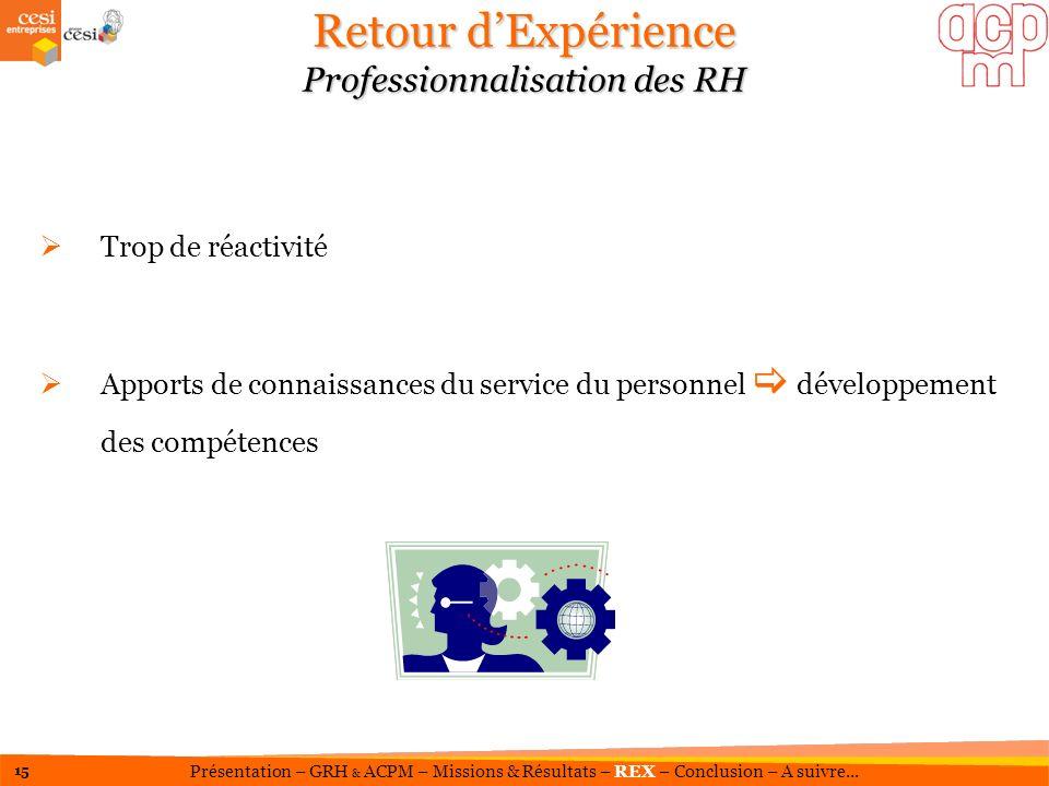 Retour dExpérience Professionnalisation des RH Trop de réactivité Apports de connaissances du service du personnel développement des compétences 15 Pr