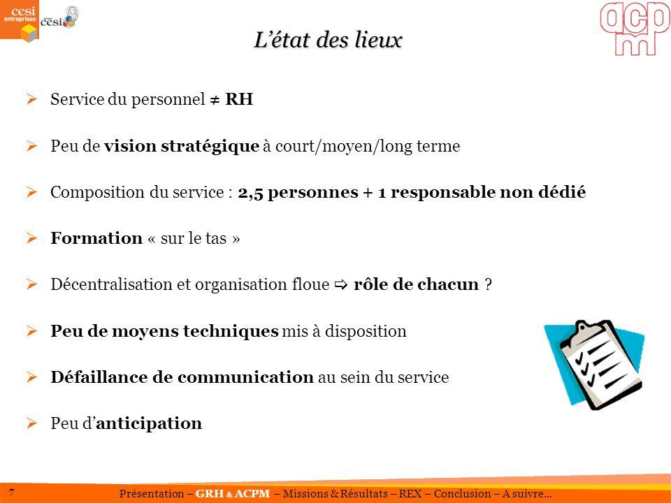 Elaboration du projet stratégique de lACPM Nouvelle Direction Générale Contexte RH en exigence Pourquoi un contrat de professionnalisation RGRH .