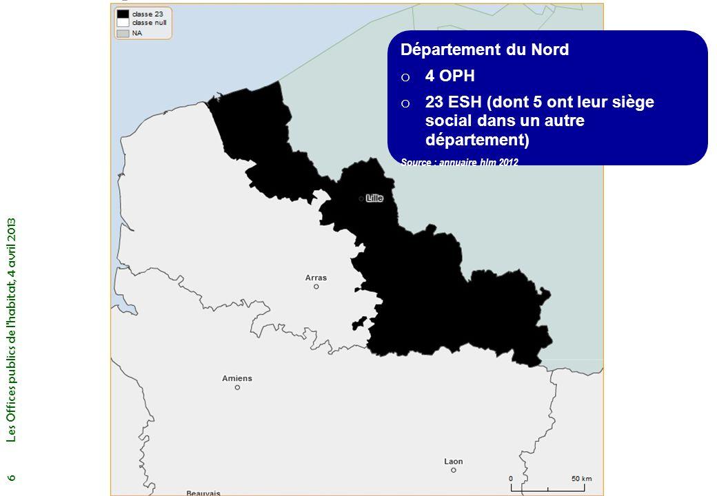 Le rattachement des Offices (2012) Présentation générale Les Offices publics de l habitat, 4 avril 2013 7 272 Offices : o Communes : 143 dont Paris o Département : 90 o EPCI : 34 o Syndicat de c.