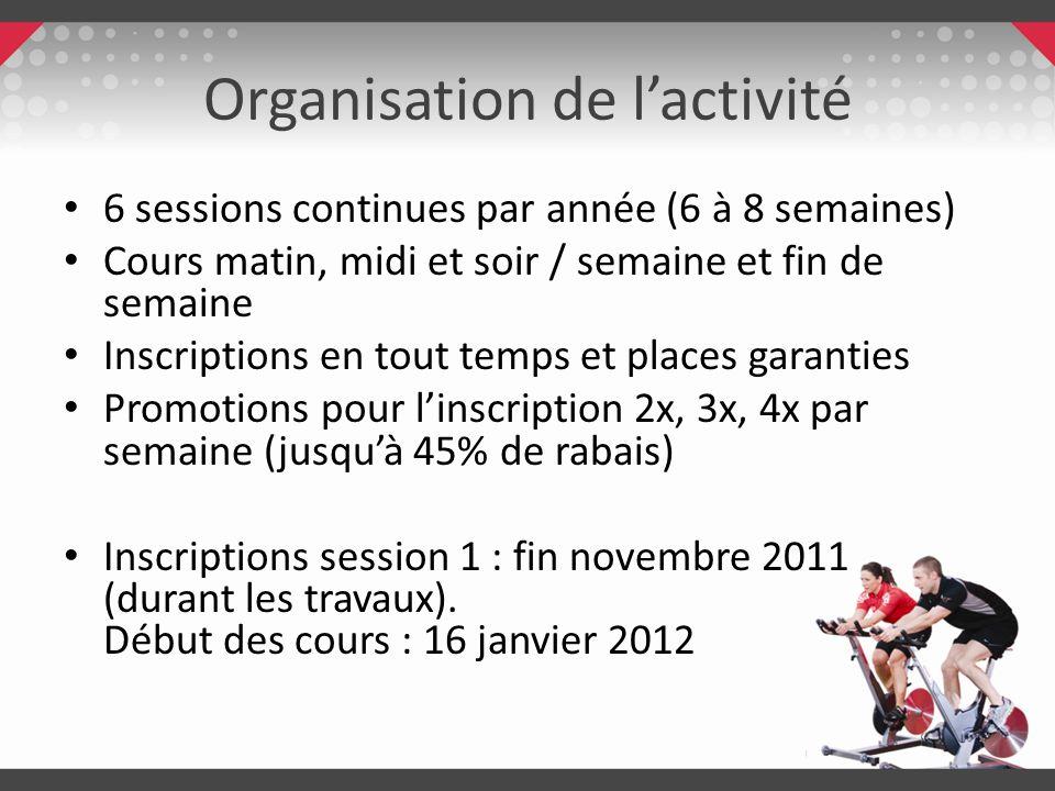 Organisation de lactivité 6 sessions continues par année (6 à 8 semaines) Cours matin, midi et soir / semaine et fin de semaine Inscriptions en tout t