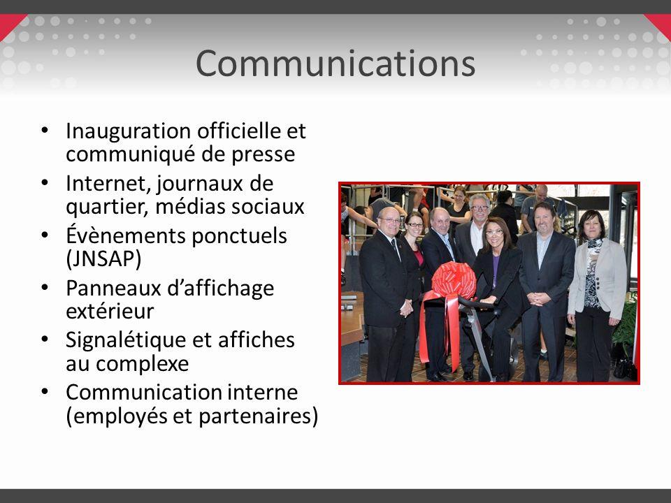 Communications Inauguration officielle et communiqué de presse Internet, journaux de quartier, médias sociaux Évènements ponctuels (JNSAP) Panneaux da