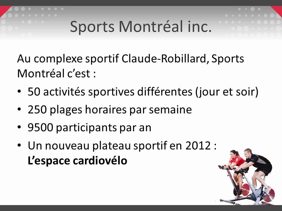 Sports Montréal inc. Au complexe sportif Claude-Robillard, Sports Montréal cest : 50 activités sportives différentes (jour et soir) 250 plages horaire