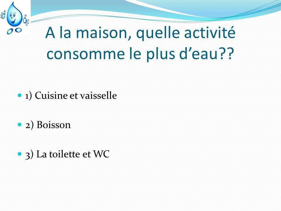 A la maison, quelle activité consomme le plus deau?? 1) Cuisine et vaisselle 2) Boisson 3) La toilette et WC