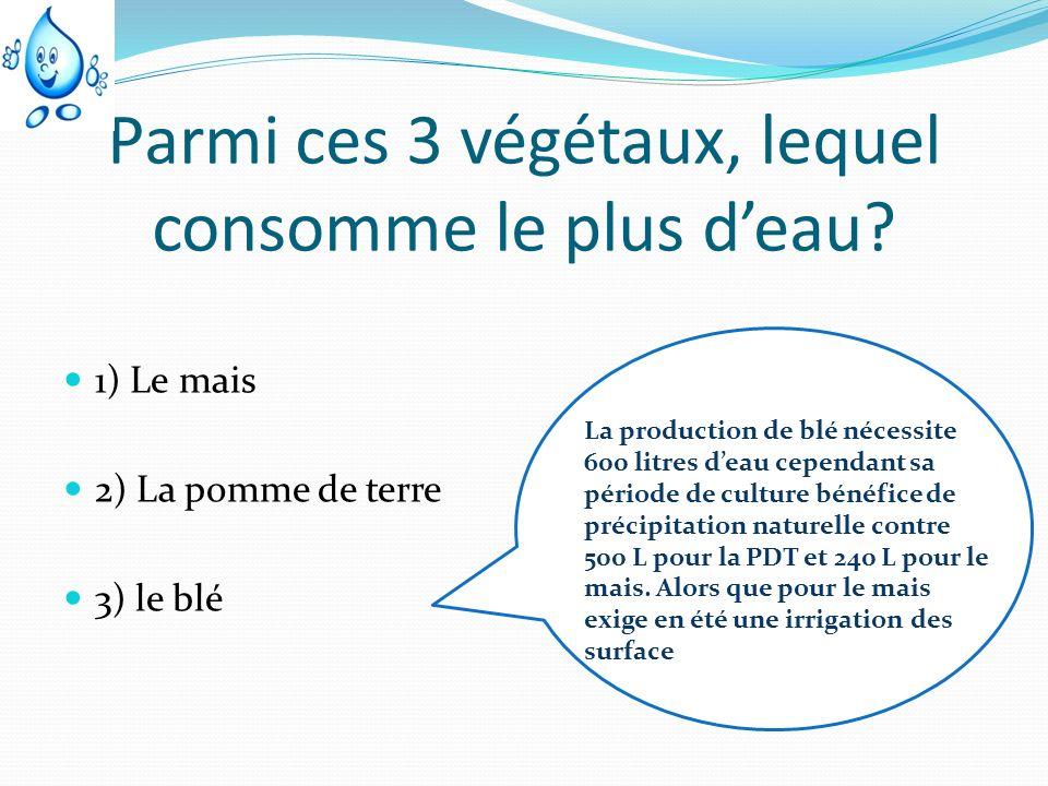 Parmi ces 3 végétaux, lequel consomme le plus deau? 1) Le mais 2) La pomme de terre 3) le blé La production de blé nécessite 600 litres deau cependant